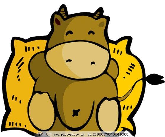 奶牛 牛 麻袋 休息 可爱 卡通 漫画 矢量素材 可爱卡通动物 其他生物