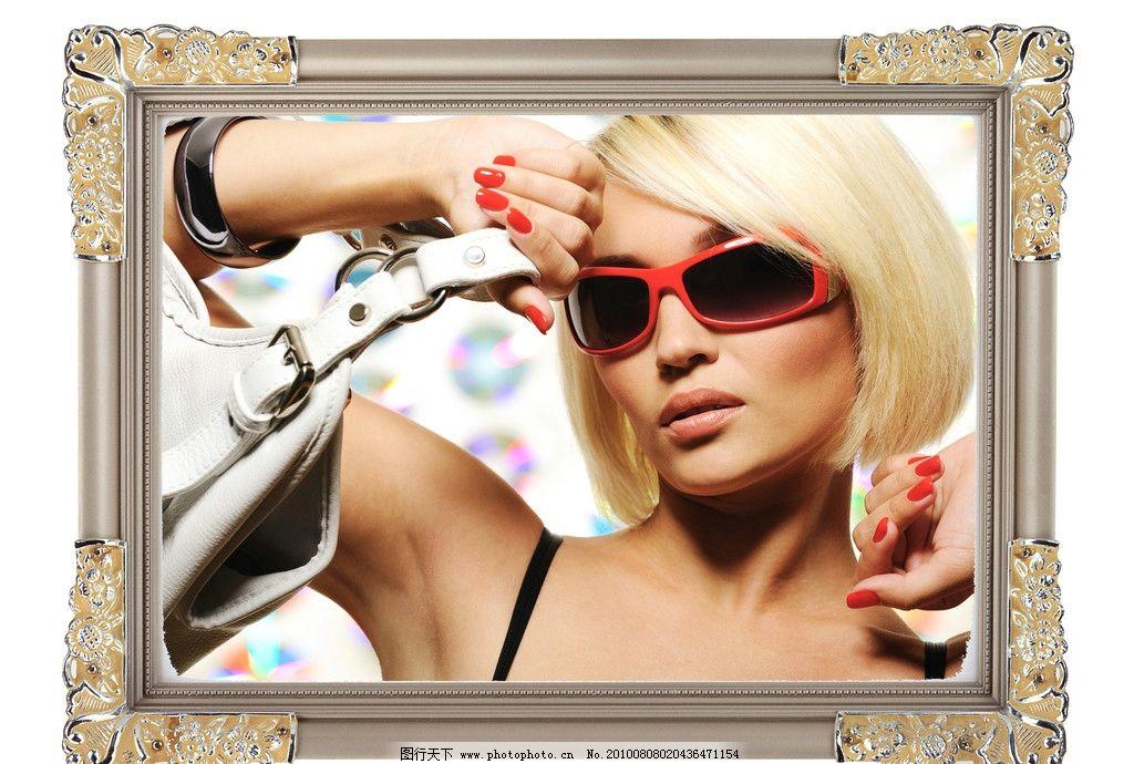 美女边框图片 欧式相框 金属花纹 外国美女 性感美女 太阳镜 金发美女