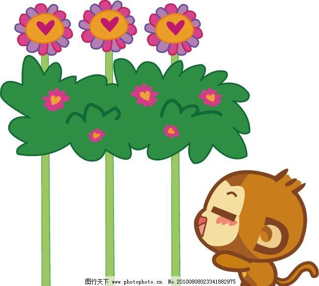 悠嘻猴 悠嘻 猴子 悠悠 嘻嘻 花丛 可爱 动物 漫画 卡通明星 明星偶像