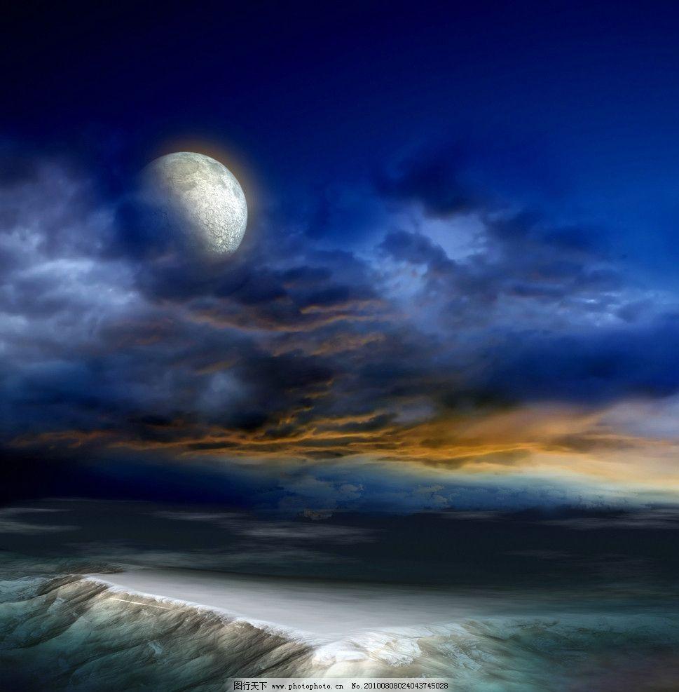 月球 乌云 天空 山峦 地貌 奇观 自然风景