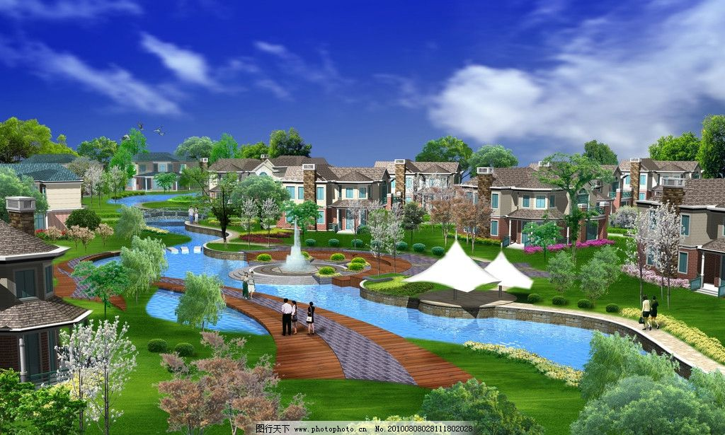 园林设计 景观 绿化 汽车        别墅 建筑 水池 景观设计 环境设计