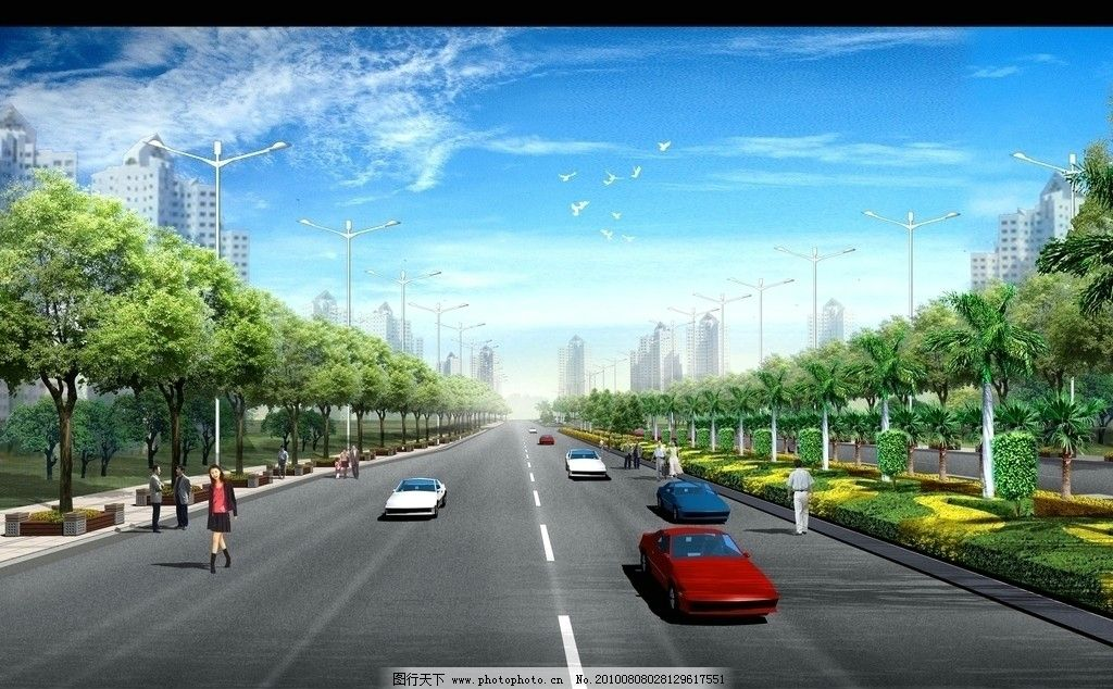 道路景观透视图 道路 绿化 园林 天空 汽车 人物 马路 绿化带 设计