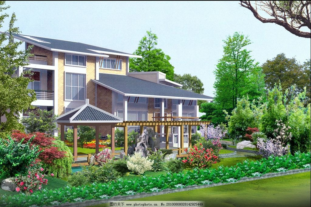 别墅景观效果图 小区 别墅 园林 设计 景观 流水 小河 人物 石头 驳岸