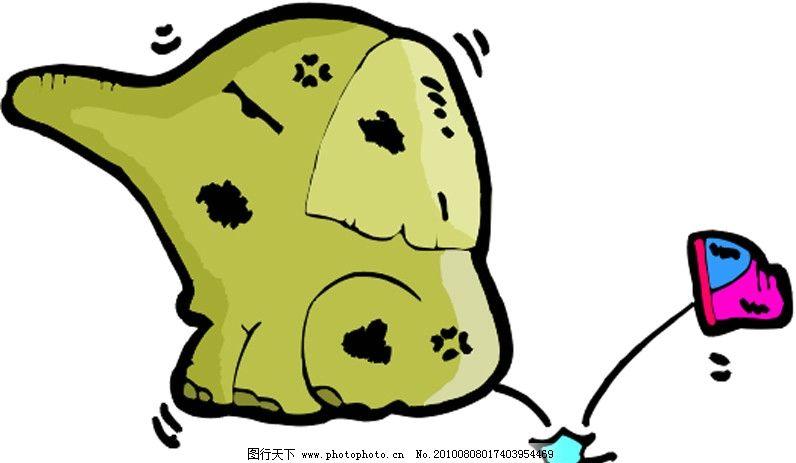 小象 象 鞋子 可爱 卡通 漫画 矢量素材 可爱卡通动物 其他生物 生物