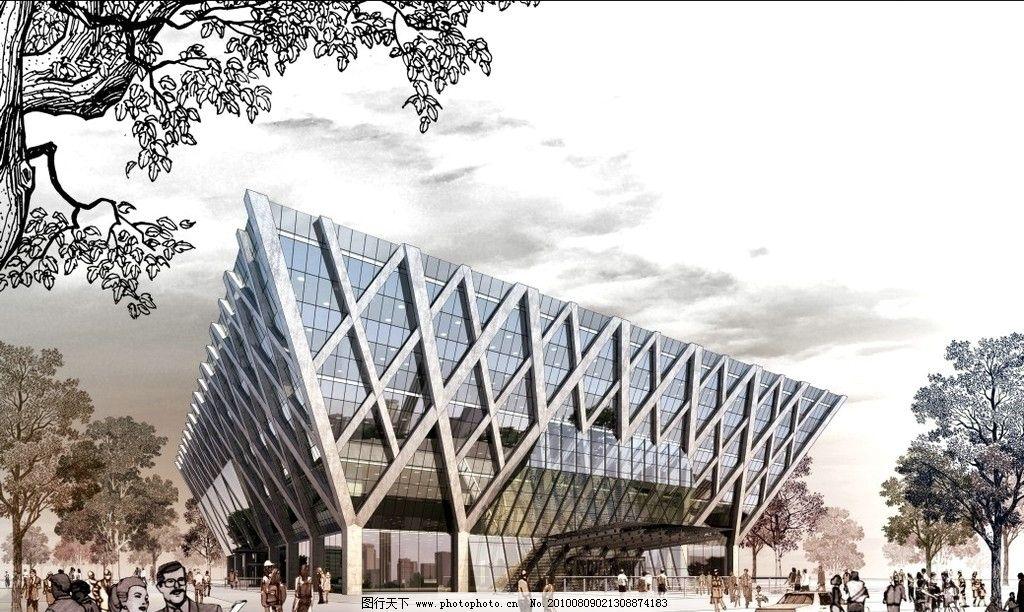 建筑景观效果图 建筑效果图 景观设计 建筑外景 手绘效果图 手绘景观
