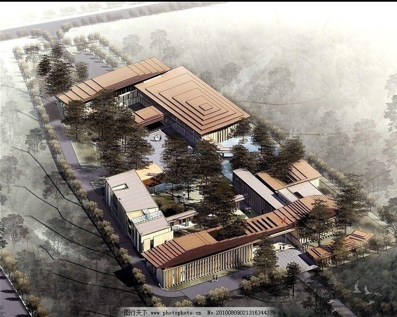 手绘效果图 水彩 水墨风格 3d效果图 公共建筑 办公大楼 建筑群 广场