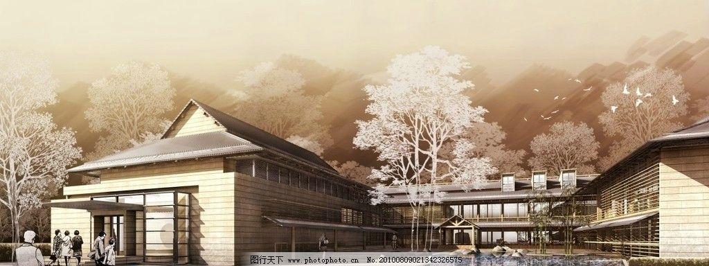 景观设计 建筑外景 手绘效果图 鸟瞰效果图 城市效果图 手绘景观 马克