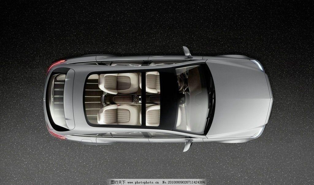 奔驰概念车 俯视 银灰色 玻璃棚顶 汽车 交通工具 现代科技 设计 100