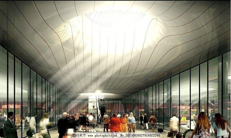 候机大厅效果图 飞机场效果图 人群 建筑效果图 室内效果图 手绘效果