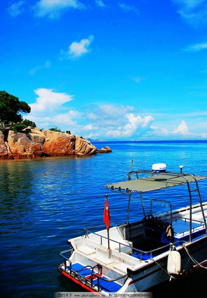 大海 蓝色大海 游船 岛屿 亭子 蓝天 白云 建筑 树木 国内旅游 旅游