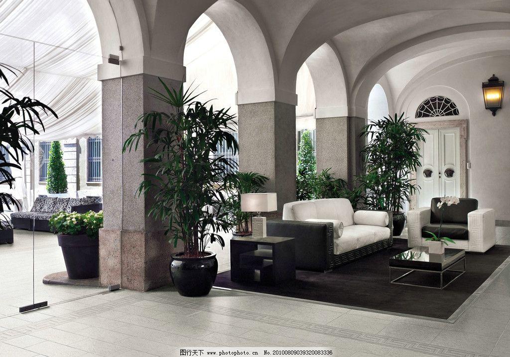 休闲 沙发 植物 大理石 罗马柱        欧式风格 壁灯 透视 室内摄影