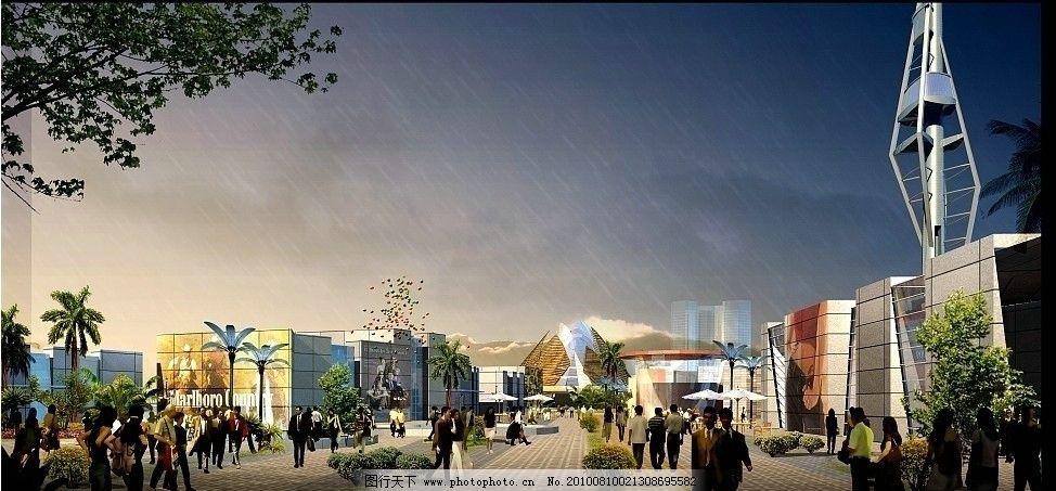 建筑外景 手绘效果图 黄昏效果 单体建筑 手绘景观 城市建筑 马克笔