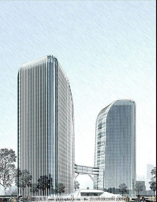 建筑效果图 室内效果图 室内设计 手绘效果图 城市建筑 马克笔