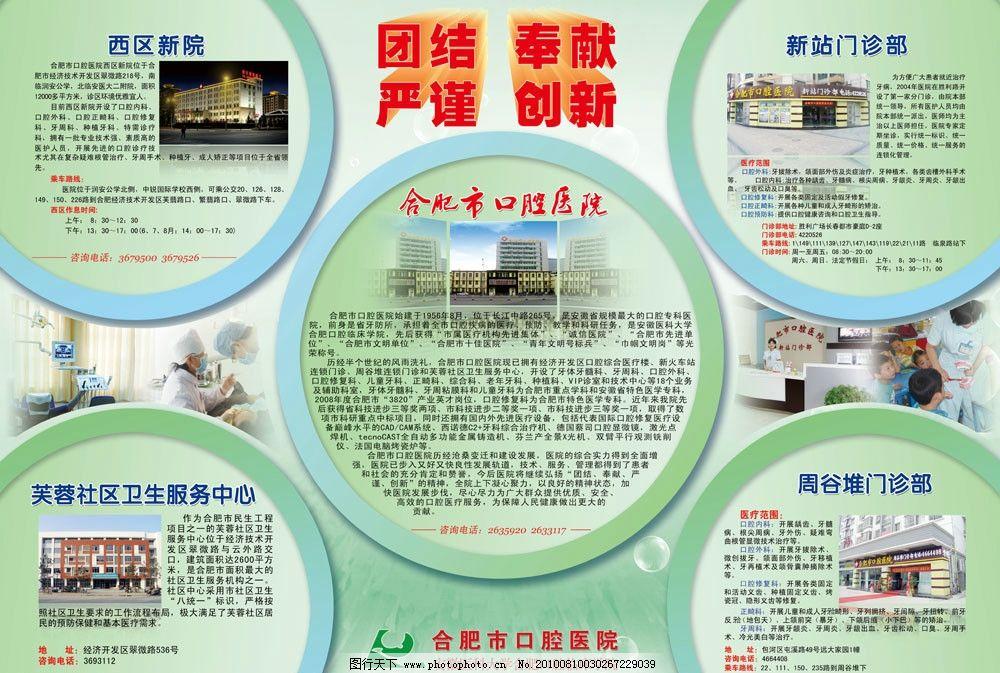 口腔医院 宣传栏 宣传 绿色背景 圆形造型 模板 医生 护士 背景 展板