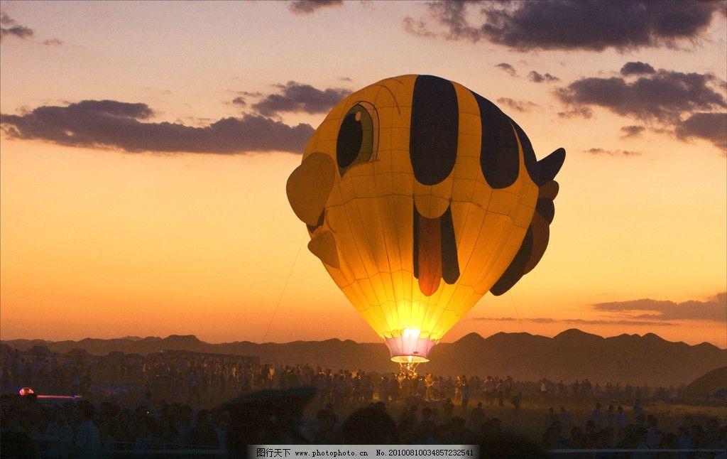 热气球 晚霞 自然风景 自然景观 摄影
