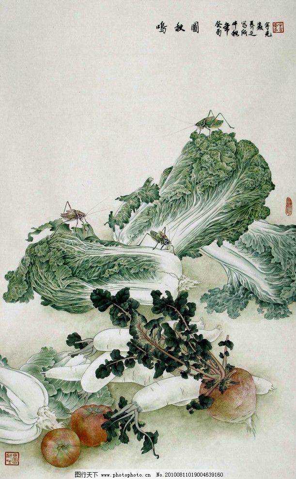 鸣秋图 绘画 中国画 工笔画 植物画 现代国画 蔬菜 大白菜 罗卜 白罗