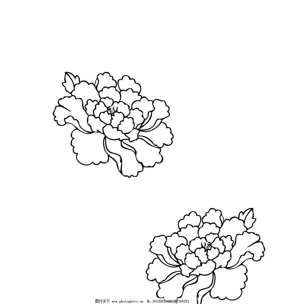 牡丹 牡丹花 矢量 花纹 花纹花边 底纹边框