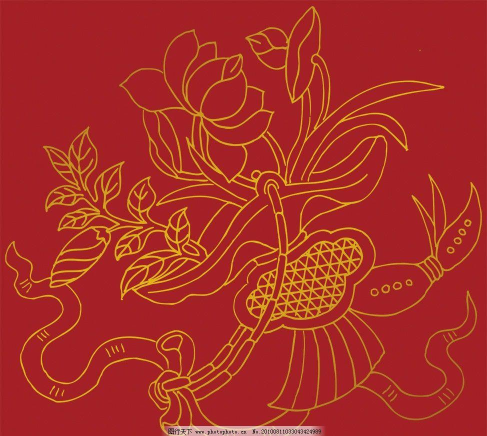 莲藕荷花图案图片