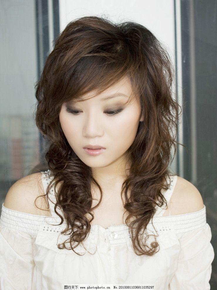 发型 美发 烫发 造型 女性 卷发 微卷 女性女人 人物图库 摄影 300dpi图片