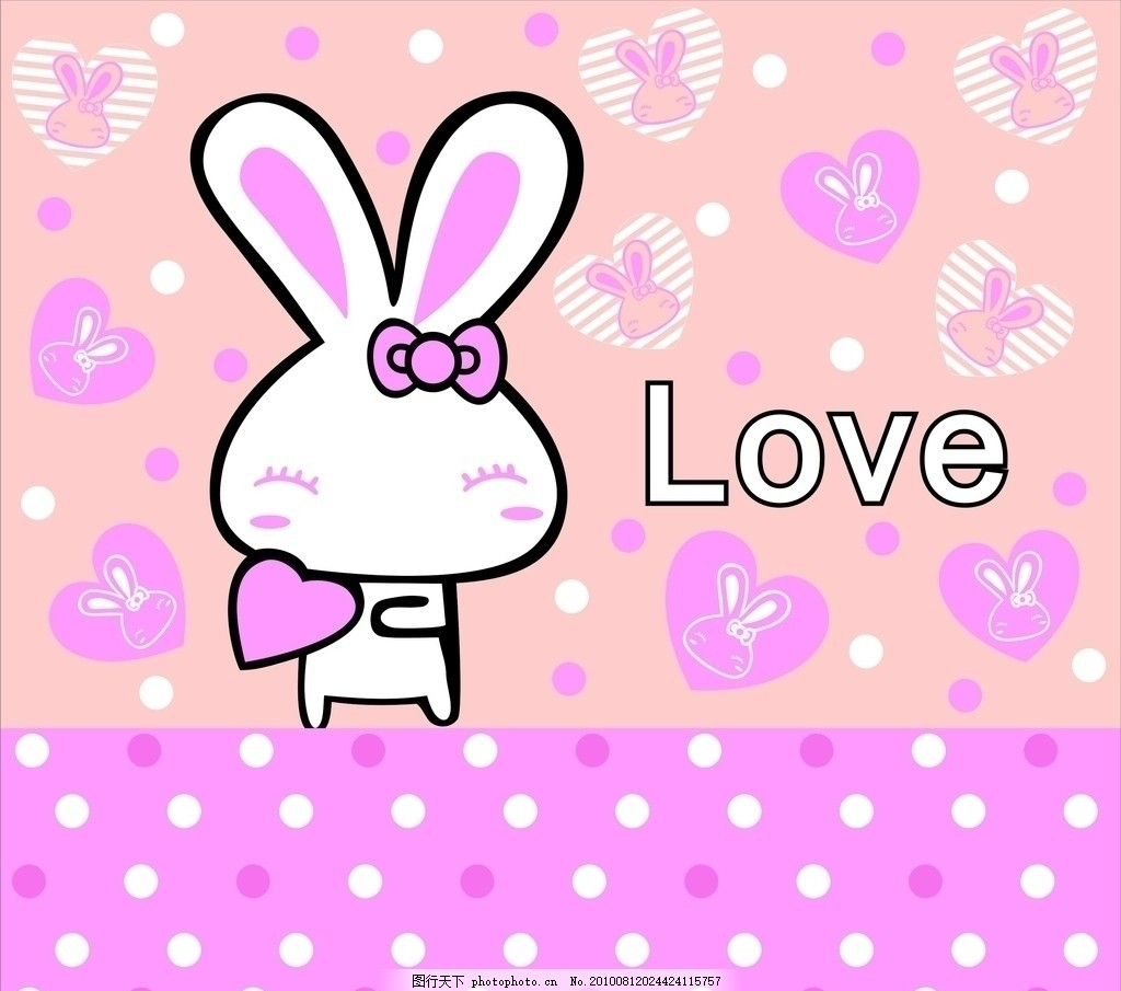 爱心兔 韩国卡通 卡通元素 可爱 love 蝴蝶结 爱心 圆点 底纹边框背景