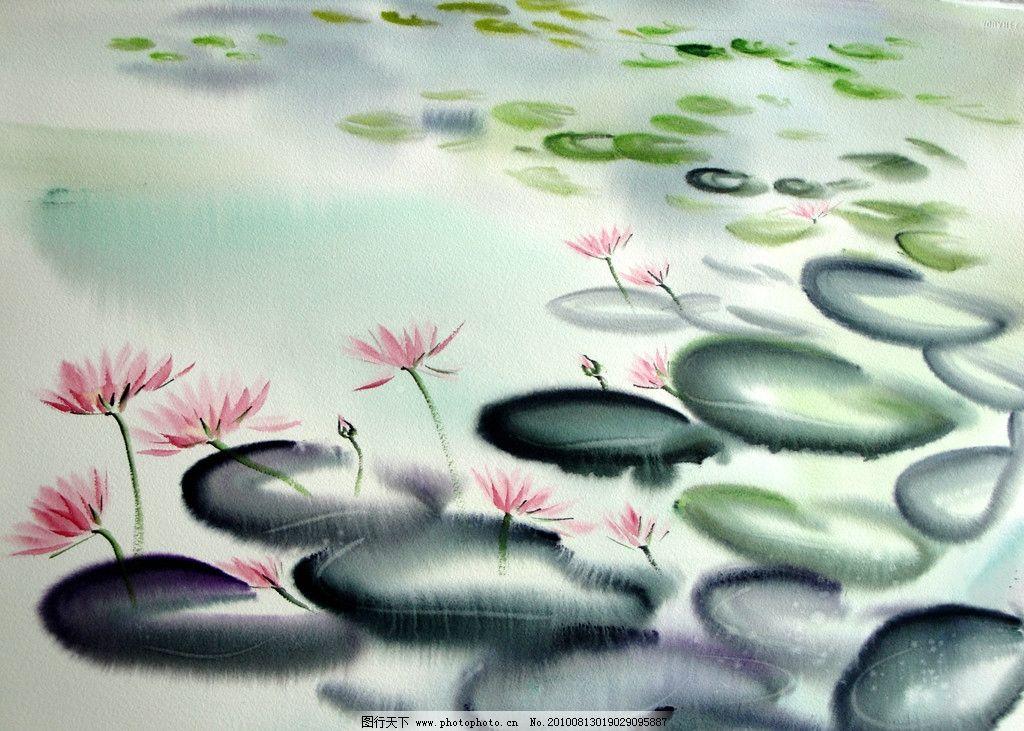 清莲 生物 植物 池塘 花草 花卉 树叶 水色 画作 绘画书法 文化艺术