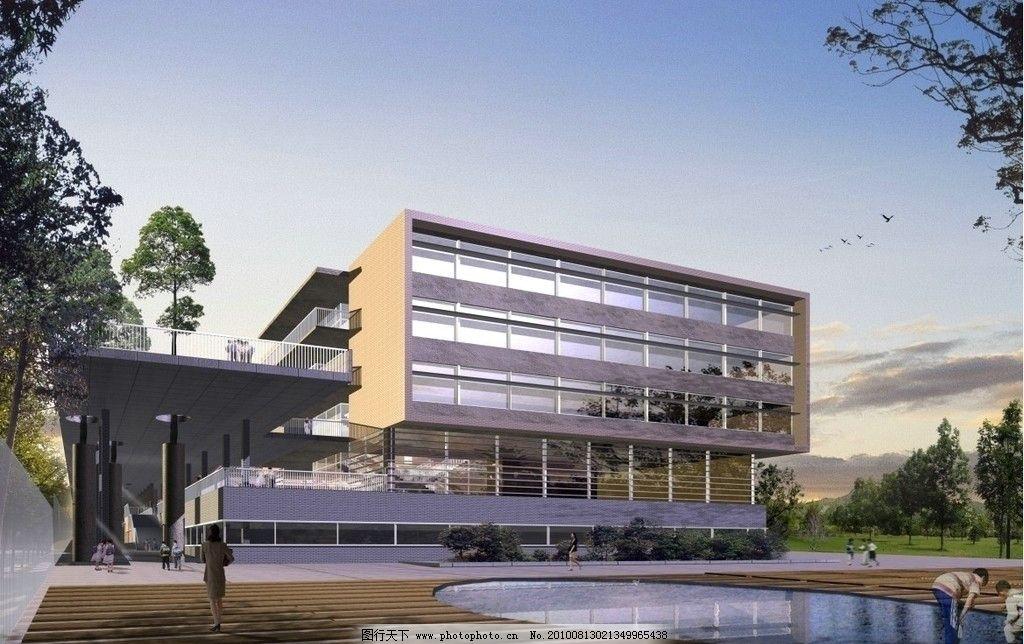 psd分层模板 湖水 建筑 高楼 古建筑 风景 房产广告源文件 建筑效果图