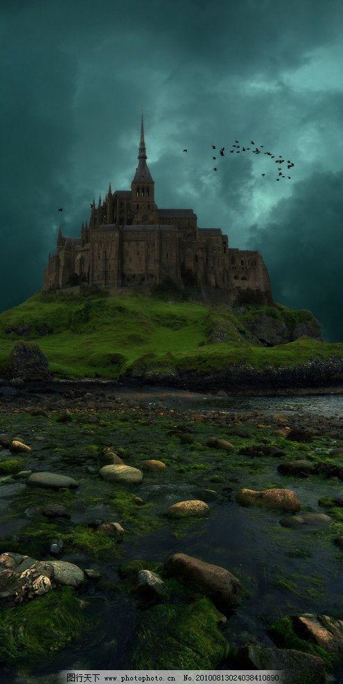 风光图片设计 设计图片 城堡 古堡 灰色天空 飞鸟 美丽风光 风景图片
