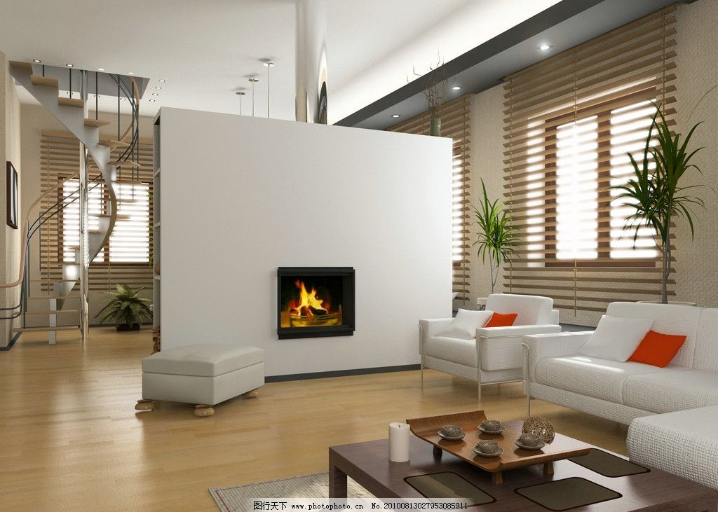 设计图库 环境设计 室内设计  室内高清图片 室内设计 壁炉 火焰 楼梯