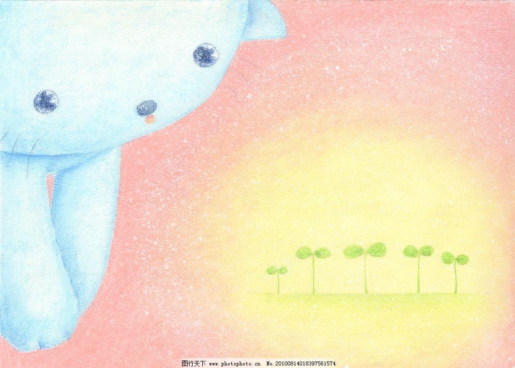 淡彩手绘卡通 小猫 可爱 动漫人物 动漫动画 设计 100dpi jpg