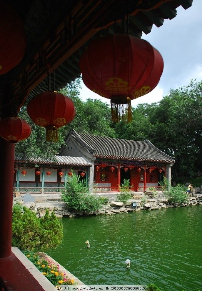 园林 美景 湖水 树木 公园 古代建筑 园林建筑 建筑园林 摄影 300dpi