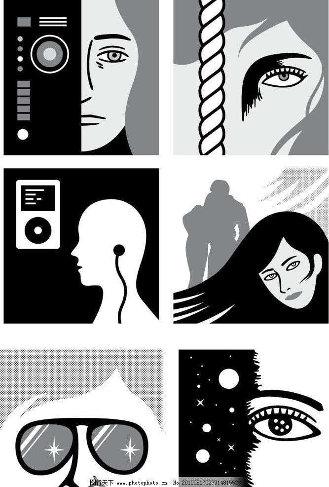 人物头像 抽像 抽象 艺术 黑白 简单 眼 头发 眼镜 其他人物