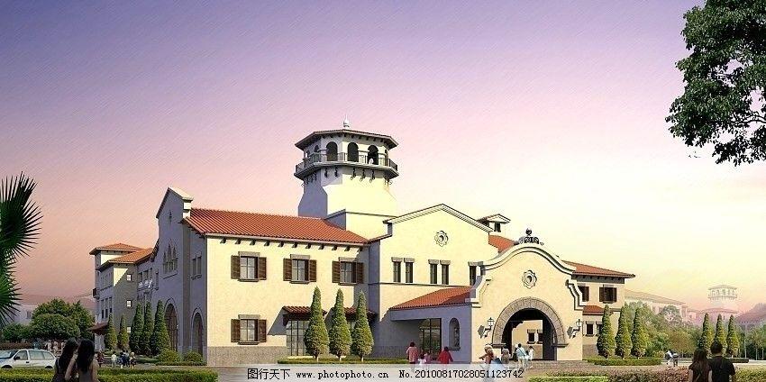 欧式别墅效果图 欧式建筑