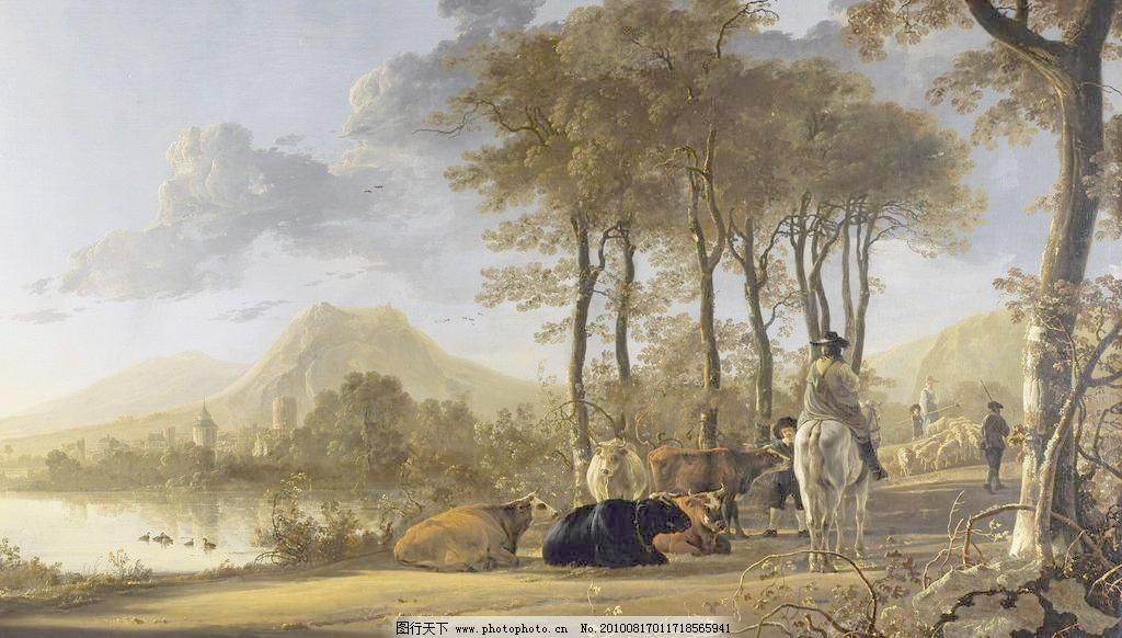 油画 草 房子 风景 风景画 风景油画 河 河水 绘画书法 油画设计素材