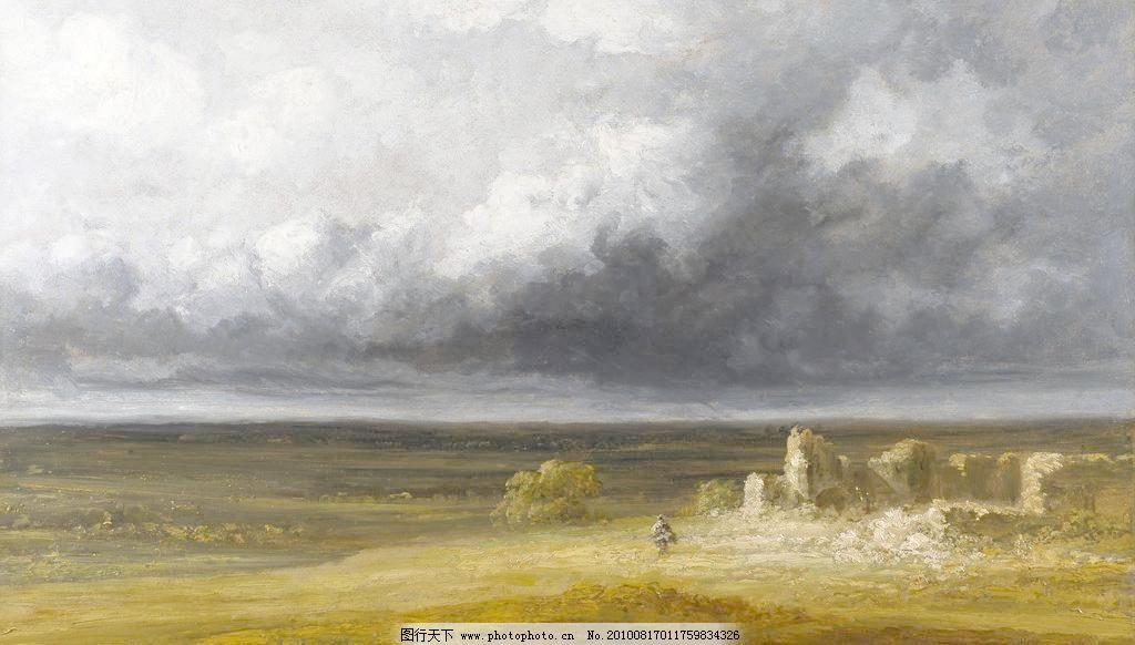 油画 草 草原 风景 风景画 风景油画 绘画书法 人物 油画设计素材