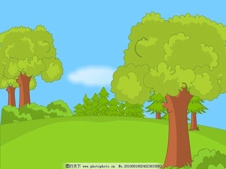 可爱树林卡通场景矢量图 森林 风景 动画场景 漫画 绿色 蓝天