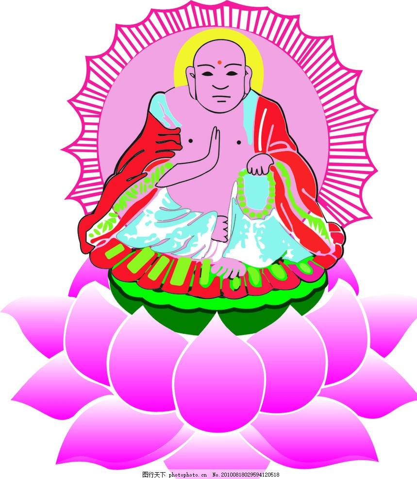 如来佛祖,连花座 设计图 矢量-图行天下图库