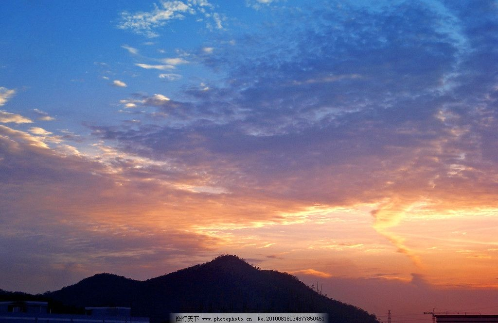 黄昏 金色天空 天空照片 高山 蓝天 白云 高清 原创摄影 自然风景