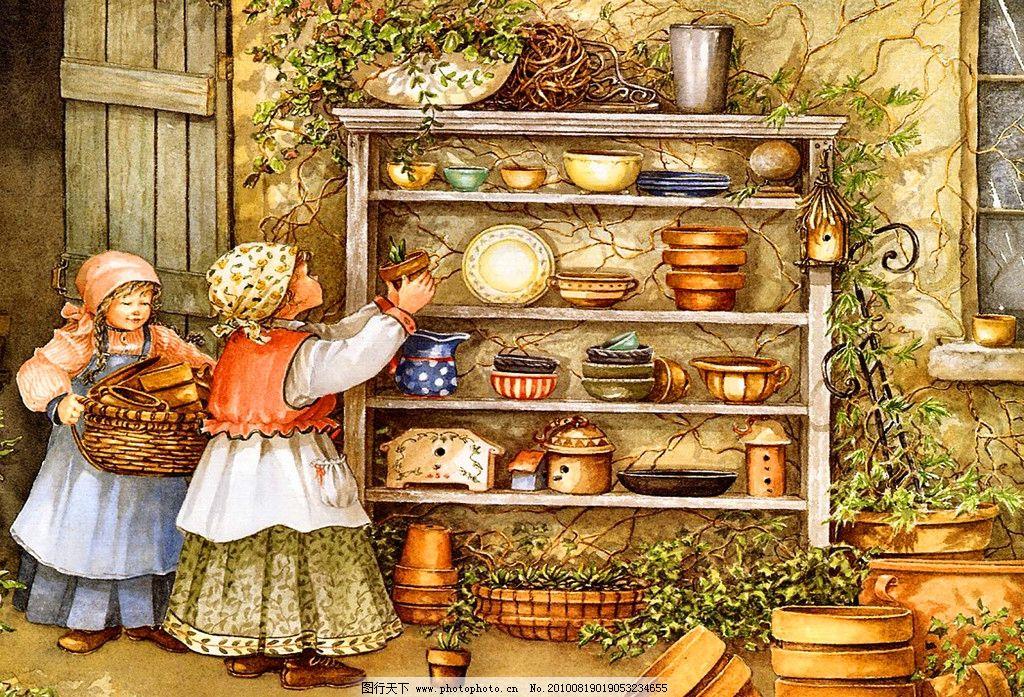 油画 橱柜 装饰画 无框画 手绘 儿童画 童话 大师作品 扫描