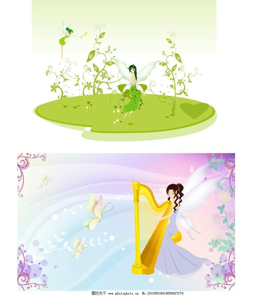 小精灵图片,小天使 女孩 蝴蝶 树木 花 翅膀 彩蝶-图