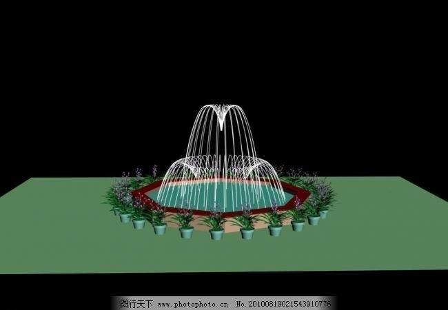 喷泉3d设计 水景 水景效果图 源文件 喷水池 喷水效果图 喷泉设计效果