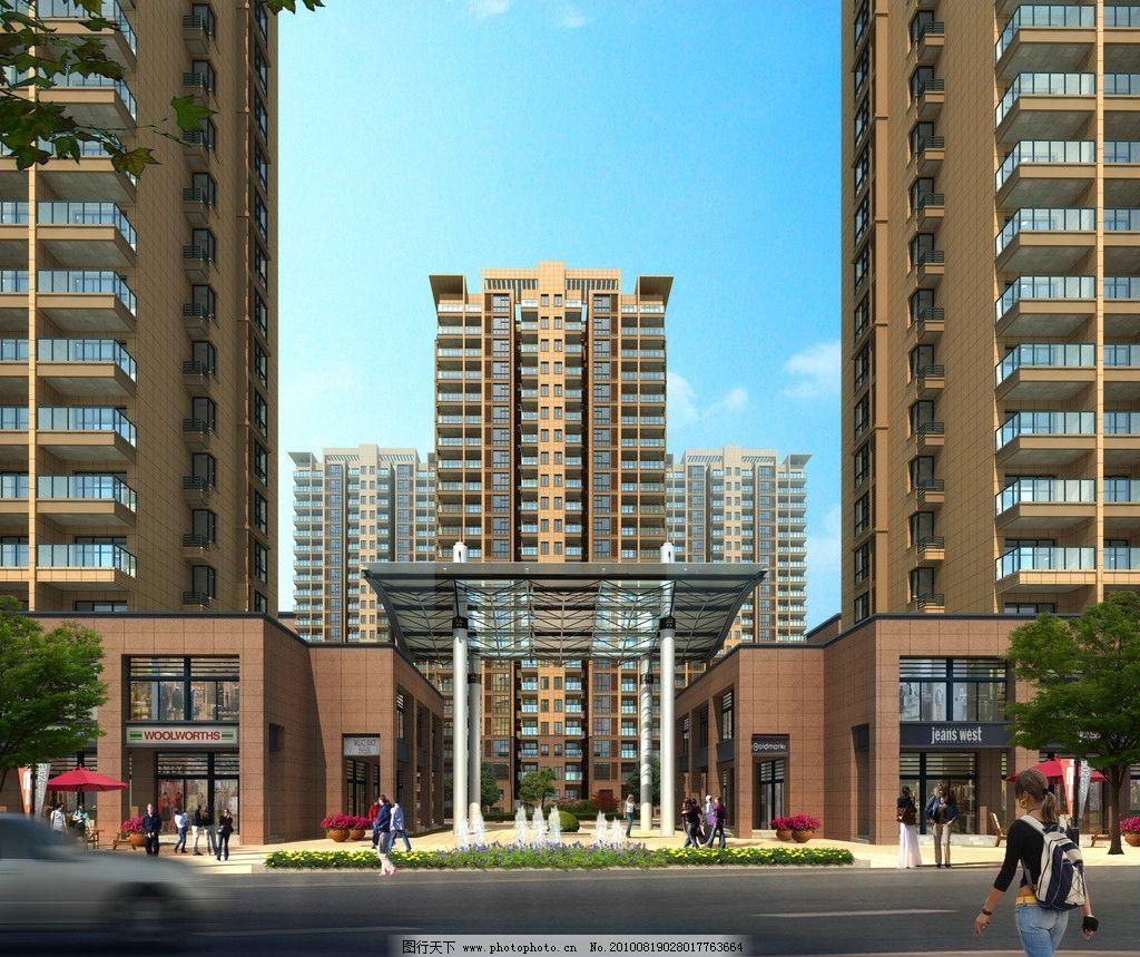 门头设计 景观设计 入口设计 现代建筑 室外 透视图 沿街 商铺 气派