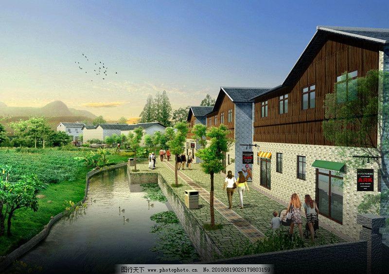 河边的景观设计效果图 园林建筑效果图 园林建筑 室外 建筑 河边人行