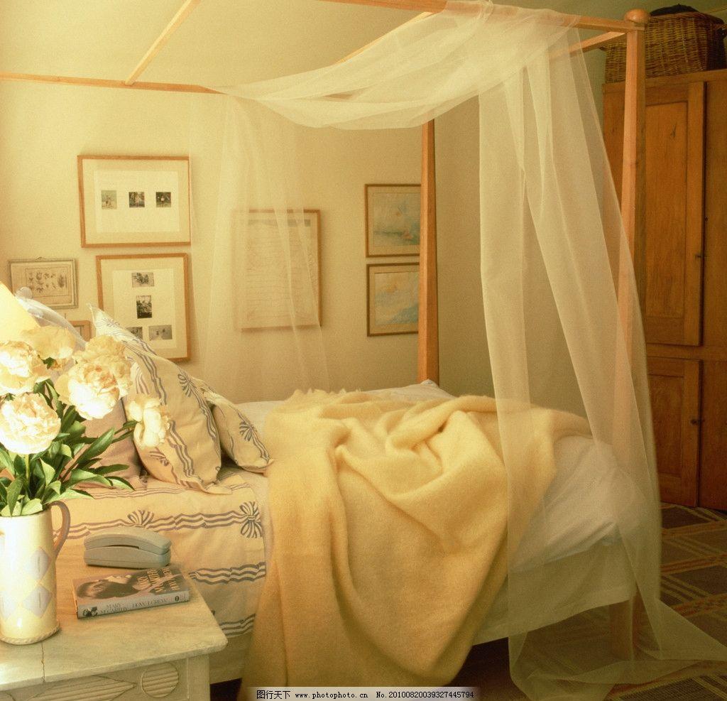 卧室 床 棉被 床单 电话 床头 装饰画 花瓶 欧式 家装设计素材客厅