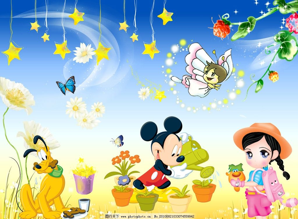 卡通画 米老鼠 幼儿园 幼儿园墙 卡通背景 卡通风景 卡通动物 卡通小