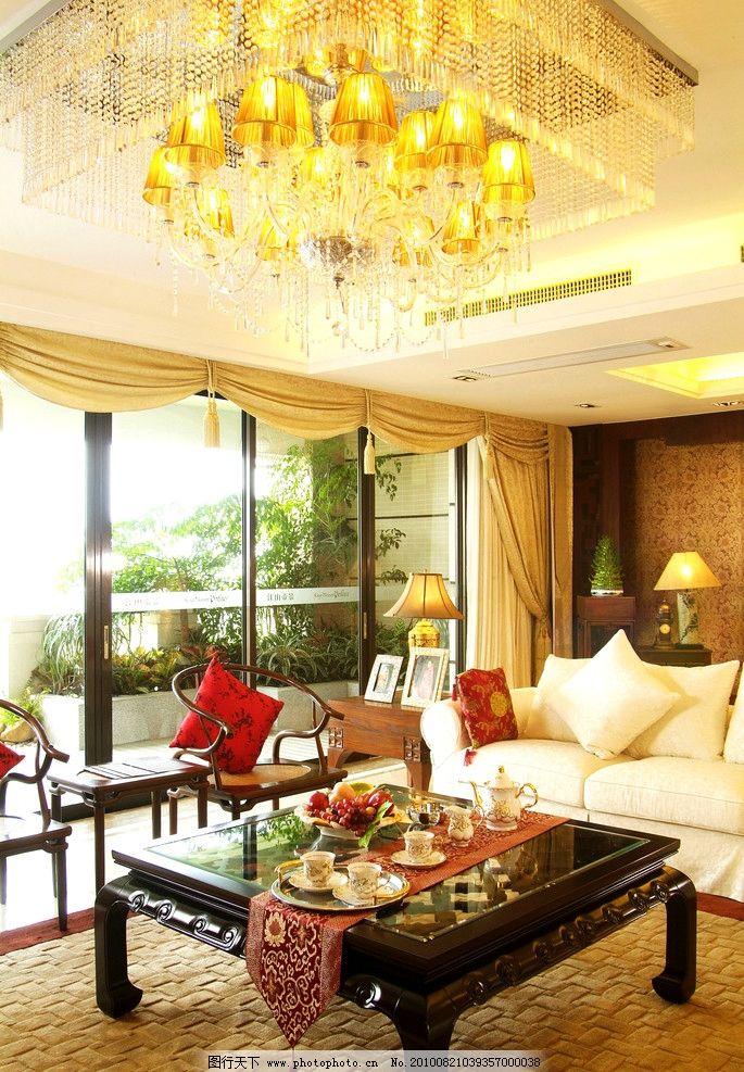 摄影图库 建筑园林 室内摄影  欧式客厅实景图 欧式客厅 会客厅 餐厅