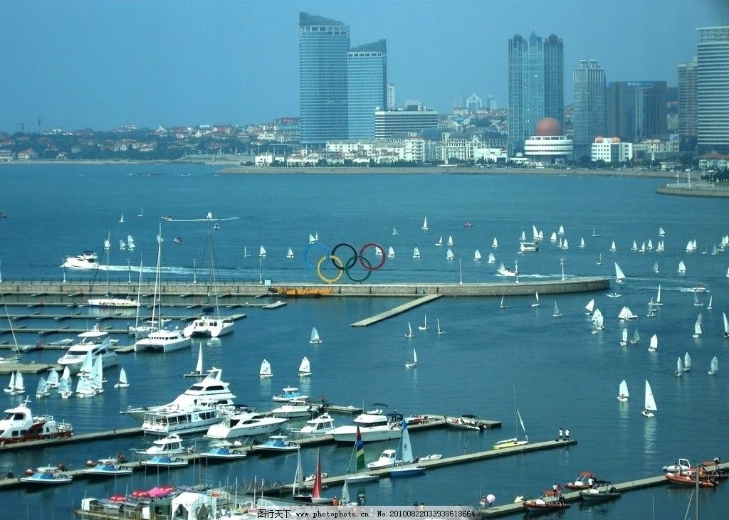 摄影图库 旅游摄影 国内旅游  鸟瞰青岛奥帆中心 帆船 训练基地 奥运