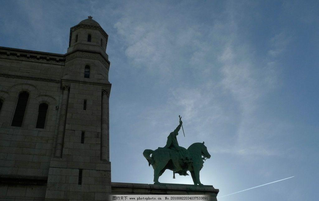 教堂雕塑 法国 屋顶 蓝天 白云 骑士 建筑 国外旅游 旅游摄影