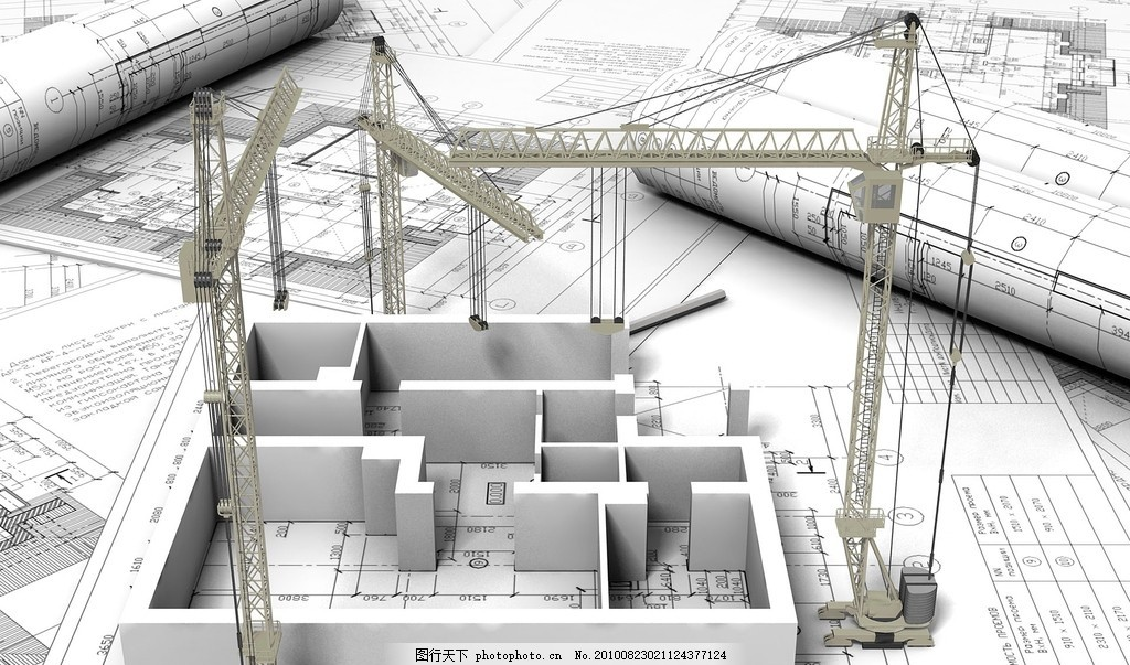 3d房子 环境 图纸 建筑 塔吊 吊车 建筑工地 施工 概念建筑