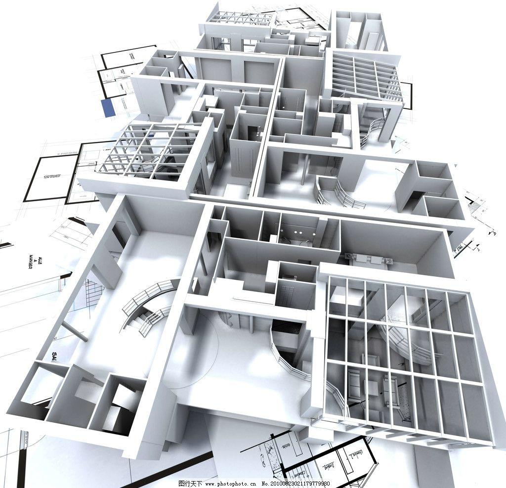 3d建筑物与平面图图片,建设 房子 房地产 图纸 施工