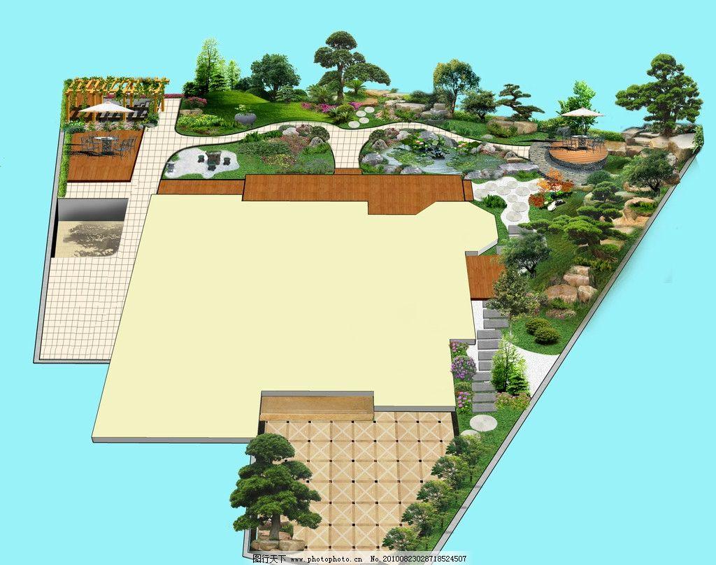私家园林设计 罗汉松 泰山石 荷花 花架 源文件